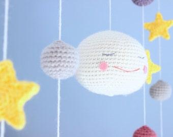 Crochet pattern - Under the moon mobile by Tremendu - amigurumi crochet baby mobile, PDF digital pattern