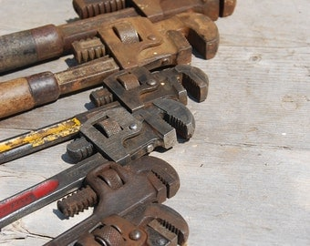 Lot of Six Vintage Pipe Wrenches