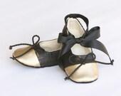 Baby Ballet Slipper, Black Snakeskin, Gold Shoe, Toddler Ballet Flat, Crib Shoe, Flower Girl, Wedding Shoe, Dance Shoes, Baby Souls Couture