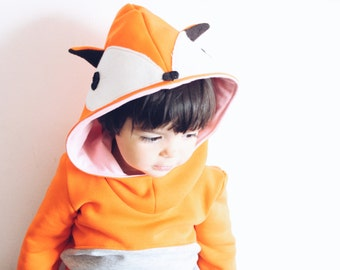 Kids' hooded fox sweatshirt. Carnival costume idea. Sizes from 2 to 7 years. Made to order.