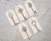 """Skeleton Key Wedding Favors with Tags and Strings - Set of 50 - 5 Different Key Shapes - Antique Silver - 2"""" to 2.7"""""""