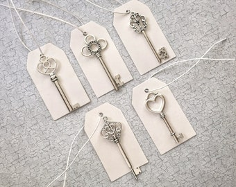 "Skeleton Key Wedding Favors with Tags and Strings - Set of 50 - 5 Different Key Shapes - Antique Silver - 2"" to 2.7"""
