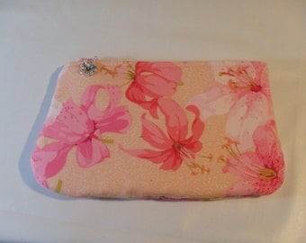 Floral Cosmetics Clutch, Toiletry Bag, Pencil Case, Pink Clutch, Lily Bag, Zippered Pouch, Dopp Kit, Gifts for Her, Floral Bag, Go Bag