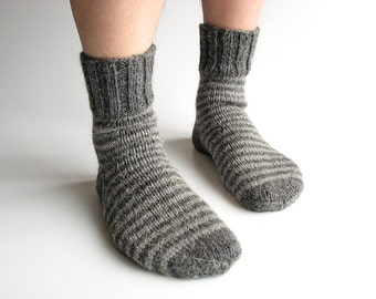 Wool Socks - EU Size 43-44 - Hand Knitted Striped Socks - 100% Natural Wool - Warm Woolen Clothing