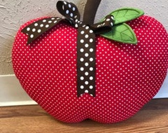 Apple Pillow Red Polka Dot Large