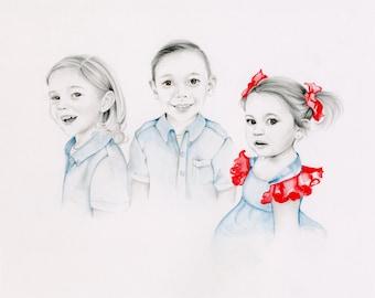 Custom Portrait Kids Portrait Children's Personalized Art Original Hand Drawn Portrait from Your Photograph Mom Gift Kids Portrait Memento