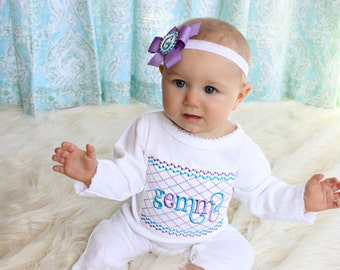 Newborn Baby Girl Take Home Outfit Monogram Baby Girl Romper Sleeper Personalized Baby Girl Clothes Coming Home Outfit 0-3 up to 12-18 Mon.
