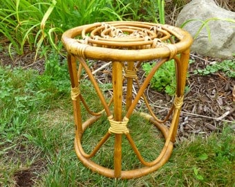 Rattan Bentwood Plant Stand Side Table Footstool Jungalow Style Decor