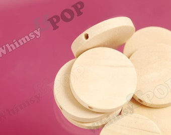 10 - Chunky Plain Unfinished Disc Round Mod Wood Beads, Wood Beads, Wooden Beads, 25mm x 5mm, Hole: 2mm (C1-28)