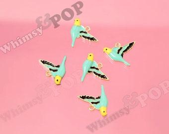 Gold Plated Yellow Aqua Black Alloy Parakeet Bird Enamel Charm, Parakeet Charm, Parakeet Pendant, Bird Charm, 19mm x 16mm (6-4G)