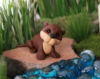 Polymer Clay Otter - Miniature Otter - Mini Clay Otter - Fairy Garden Accessory - Terrarium Accessory – Otter Sculpture – Garden Decoration
