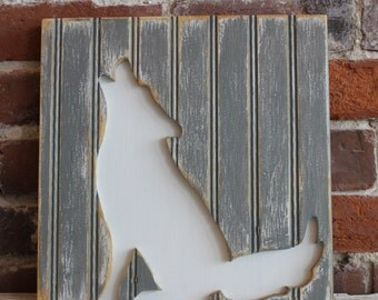 Coyote, Wooden Wall Art, Distressed Antique White and Gray Bead Board, Southwestern Wall Art