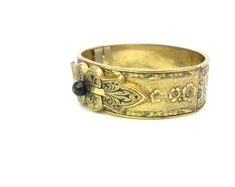 Victorian Revival Bracelet. Roses Hinged Oval Gold Tone Cuff. Floral Taille D'Epargné Enamel Tracery. Vintage 1950s Antique Style Jewelry