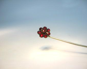 Bohemian Garnet Jewelry. Antique Stick Pin. 1800s Victorian Flower. Rose Cut Garnets, Gold Gilt Metal. Antique 1880's Victorian Jewelry.
