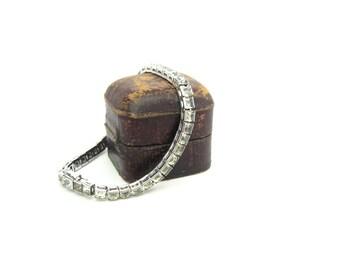 Art Deco Bracelet. Crown Trifari Rhinestone Links. Channel Set Square Cut Crystals. Vintage 1940s Art Deco Geometric Jewelry
