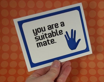 You are a suitable mate - Blue Pop up card Card  - Star Trek / Spock inspired - blank inside