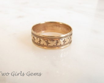 Antique gold wedding band, wide gold cigar band, gold stacking ring