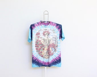 Grateful Dead Tie Dye T Shirt Mens Medium Unisex Womens Tee Shirt Tour Lot Tye Die Greatful Dead Bertha Liquid Blue 90s Well Worn Trashed