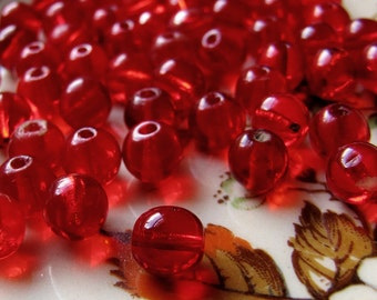 antique red glass beads - tiny clear Edwardian 1920s round glass beads in ruby red - 5mm - 28 beads