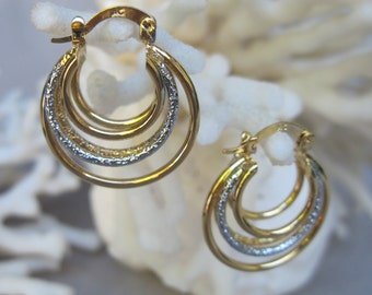 Five Strand Hoops Gold n Silver - Gold Filled Earrings