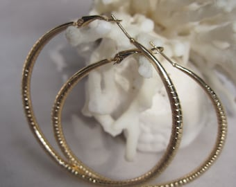 "Gold 2-3/4"" Diameter Straight Ring Etching Summer Hoop Earrings"