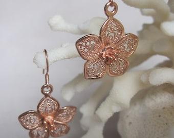 Filled Rose Gold Intricate Filigree Single Open Flower Dangling Earrings