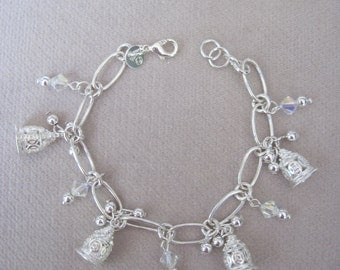 Silver Bells n Beads with Faceted Iridescent Swarovski Crystals Linked Bracelet