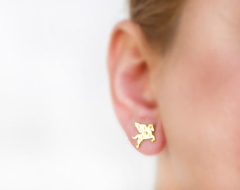 Earrings Pegasus jewelry, horse earrings, earrings gold studs, winged horse, titanium earrings Mythology, cute animal, fantasy jewelry