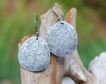 Large Silver Earrings: Recycled Fine Silver (.999) Organic Ovals. Melted, Hammered, Textured, Sanded, Oxidized. Eco-Friendly. Shabby Chic!
