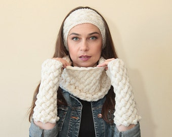 Hand Knit Fingerless Gloves, Cowl Scarf and Headband Pure Wool Set by Solandia ivory white, Christmas gift