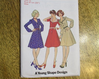 1970's RETRO Fit and Flare Dress w/ Wide Collar - Size 12 - UNCUT Vintage Sewing Pattern Style 4849