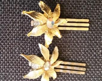 1950's Gold Tone & Rhinestone Flower Hair or Shoe Clips