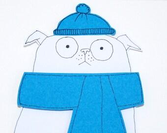 Pug Christmas Card, White Pug Card, Funny Pug Card, Handmade Christmas Card, Pug Birthday Card, Funny Pug Card, Blank Card for Dog Lover,