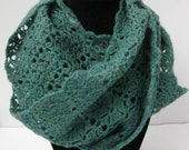 Green, Blue and Teal Flecked Crocheted Infinity Scarf