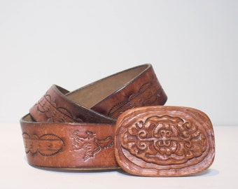 38 | Brown Tooled Leather Belt w/ Wooden Belt Buckle
