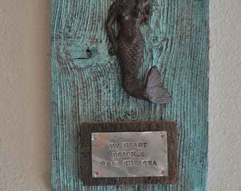 Mermaid,  Beach house sign, coastal art, beach art, beach decor, beach house decor, beach house gift