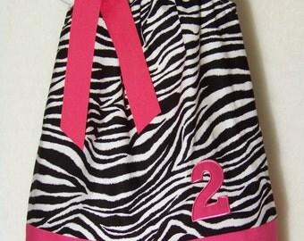 BIRTHDAY Pillowcase Dress / Zebra / Pink / Personalized / Sundress / Newborn / Infant / Baby / Girl / Toddler / Custom Boutique Clothing