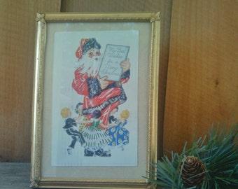 Vintage Christmas Postcard / Vintage Framed Holiday Postcard