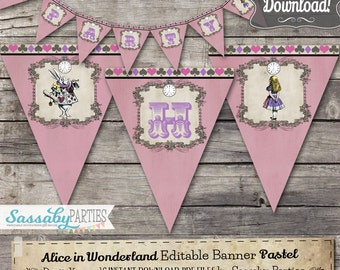 Alice in Wonderland Party Banner Pink Pastel - INSTANT DOWNLOAD - Editable & Printable Birthday Decoration, Decor, Bunting