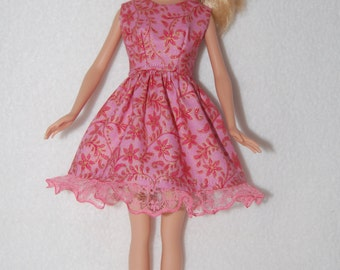 "Barbie doll dress  Coral with lace hem  A4B044. 11.5"" fashion doll clothes READY TO SHIP"