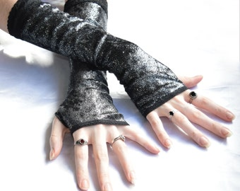 Black Silver Shimmer Velvet Arm Warmers Fingerless Gloves Sleeves Armwarmers Arm Warmer handfasting gothic goth velour burlesque belly dance