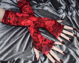 Red Arm Warmers Fingerless glove feminine Black gothic goth roses floral flowers Victorian edwardian burlesque vampire bohemian boho emo