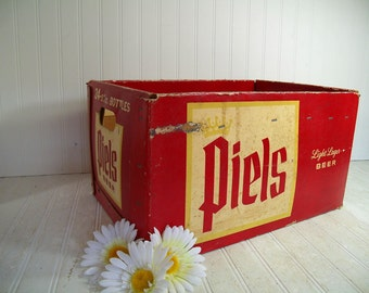 Vintage Large Waxed CardBoard Piels Beer Bottles Crate - Heavy Duty Rustic Industrial Advertising Box - MidCentury Piel Bros Breweriana Case