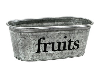 Fruits Galvanized Tub - decorative hand painted storage for your kitchen