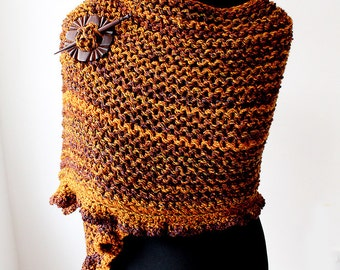 Autumn Colours Hand knitted Frill Shawl