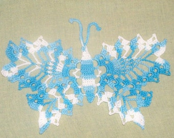 Delicate Crocheted Lace Butterfly Applique - Sky Blue Variegated