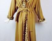 Vintage BILL BLASS CAMEL Wool Trench Coat with Leopard Print Warm lining Stunning Runway Coat Sz Med