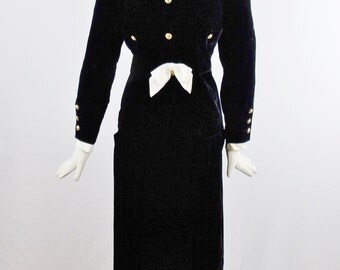 Reserved Vintage CHANEL AUTH CLASSIC Jacket and Matching Black Velvet Skirt Set With Bow Iconic Fashion Size 44