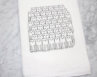 Cat Flour Sack Towel - Cotton Dish Towel - Tea Towel - Cat Towel - Dish Towel  - Kitchen Towel - Animal