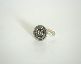 Family Crest Ring Silver Coat of Arms - made with a vintage metal button